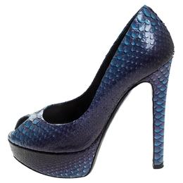 Dior Blue Python Leather Peep Toe Platform Pumps Size 35 246731