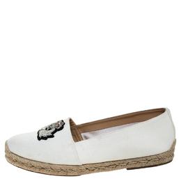 Christian Louboutin White Canvas Nanou Orlato Embellished Espadrilles Size 39 246738