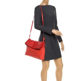 Furla Orange Leather Fold Over Shoulder Bag 243707