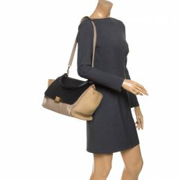 Celine Beige/Black Leather and Suede Medium Trapeze Bag 244168
