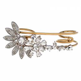 Burberry Gold Tone Daisy Crystal Double Ring 246446