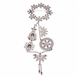 Burberry Silver Tone Daisy Wreath Crystal Brooch 246451