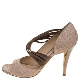 Fendi Beige Python Embossed Leather Open Toe Sandals Size 41 246888