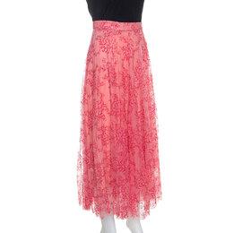 Burberry Pink Pleated Lace Wilton Midi Skirt L 245232