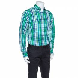 Ch Carolina Herrera Green and Blue Cotton Madras Check Shirt L
