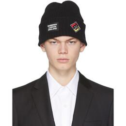 Burberry Black Wool Rib Knit Logo Beanie 8022864