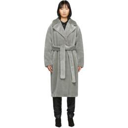 Tibi Grey Faux-Fur Oversized Luxe Coat R119LX9052
