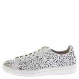Alaia White Laser Cut Leather Lace Up Sneakers Size 41 247319
