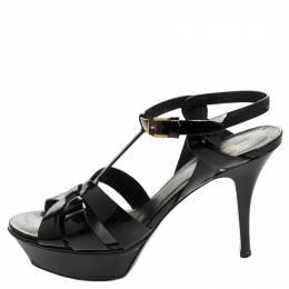 Saint Laurent Black Patent Leather Tribute Platform Sandals Size 38.5 247323