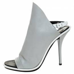Balenciaga Grey/White Leather Glove Peep Toe Sandals Size 41 247084
