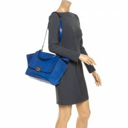 Celine Blue Python and Suede Medium Trapeze Bag 245013