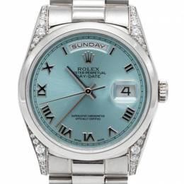 Rolex Ice Blue Day-Date President Bracelet Full Platinum Diamond Watch 36MM
