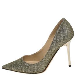 Jimmy Choo Metallic Gold Lamé Glitter Fabric Romy Pointed Toe Pumps Size 35