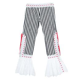 Moschino Black & White Striped Cotton Lace Detail Ruffled Capri Pants M 245281