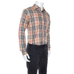 Burberry London Beige Nova Check Cotton Long Sleeve Button Front Shirt M 245938