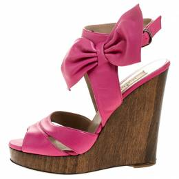 Valentino Pink Leather Bow Detail Ankle Strap Wedge Platform Sandals Size 36 244541