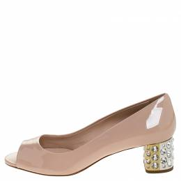 Miu Miu Beige Patent Leather Peep Toe Embellished Block Heel Pumps Size 37
