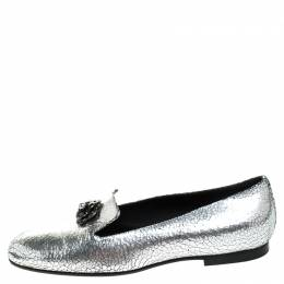 Chanel Metallic Textured Leather Camellia Loafers Size 40 247051
