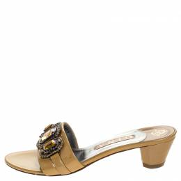 Gina Beige Patent Leather Crystal Embellished Open Toe Sandals Size 39 247120