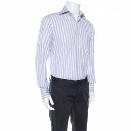 Tom Ford Lilac and White Checked Cotton Front Button Shirt M 245216