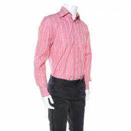 Tom Ford Red and White Striped Cotton Button Front Shirt M 245200