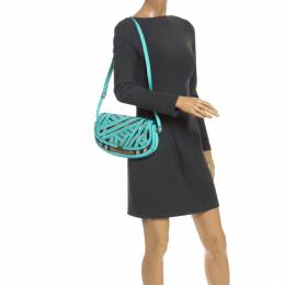 Burberry Turquoise/Beige Patent Leather and House Check Canvas Lilford Shoulder Bag 246247
