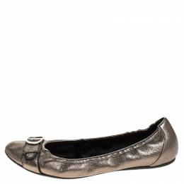 Dior Metallic Leather Buckle Ballet Flats Size 41 247056
