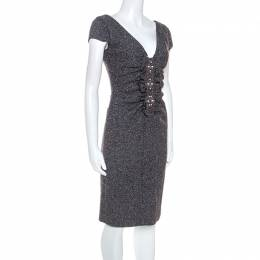 Valentino Grey Boucle Knit Wool Blend Embellshed Detail Dress M 245430