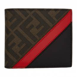Fendi Black and Red Forever Fendi Bifold Wallet 7M0169 A9XS