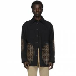 Fendi Black Wool FF Degrade Blur Jacket FW0288 A9B3