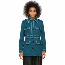 Fendi Blue Safari Belted Jacket FJ7034 A8D5