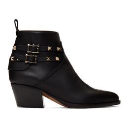 Valentino Black Valentino Garavani Rockstud Cowboy Boots SW0S0S04VXS