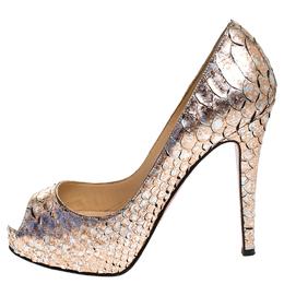 Christian Louboutin Metallic Bronze Python Leather New Very Prive Peep Toe Pumps Size 36.5 247688