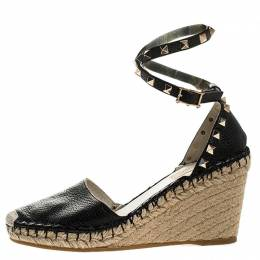 Valentino Black Leather Rockstud Espadrille Wedge Ankle Strap Sandals Size 38