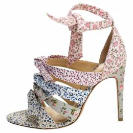 Alexandre Birman Floral Printed Canvas Lolita Knot Strappy Sandals Size 36.5