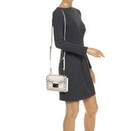 Prada Off White Studded Saffiano Leather Mini Sound Crossbody Bag 245795