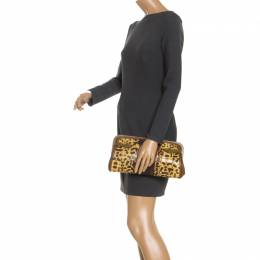 Alexander McQueen Brown Leather and Watersnake Reversible Skull Clutch 246208