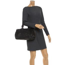 Longchamp Black Leather Front Pocket Boston Bag 245915