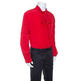 Gucci Red Silk Tie Neck Detail Shirt XXL 246362
