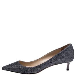 Jimmy Choo Dark Silver Glitter Fabric Aza Kitten Heel Pumps Size 39