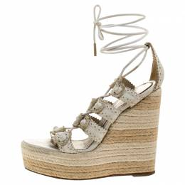 Balenciaga White Leather Lace Up Espadrille Wedges Platform Ankle Wrap Sandals Size 38 245880