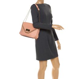 Chloe Coral Orange Leather Medium Sally Flap Shoulder Bag 246489