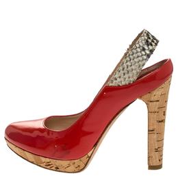 Fendi Orange Patent Leather Cork Platform Slingback Sandals Size 36.5 247725