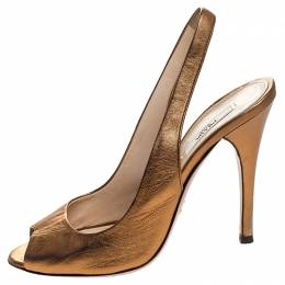 Prada Metallic Bronze Leather Peep Toe Slingback Sandals Size 37 247722