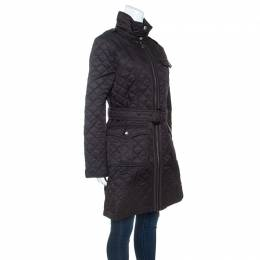 Burberry Black Diamond Quilted Coat M 245982