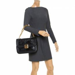 Versace Black Leather and Patent Leather Chain Flap Shoulder Bag 347113