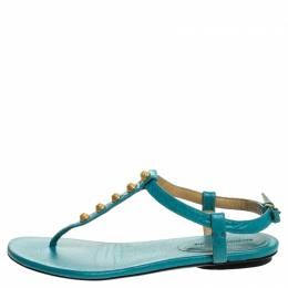 Balenciaga Turquoise Studded Leather Arena Thong Sandals Size 37 247052