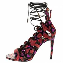 Aquazzura Multicolor Python Leather Elaphe Cut Out Ankle Wrap Sandals Size 37 245754
