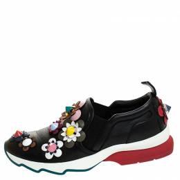 Fendi Black Leather Flowerland Slip On Sneakers Size 37 243782