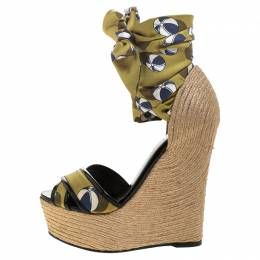 Gucci Multicolor Silk And Jute Scarf Ankle Wrap Wedge Size 36.5 244211